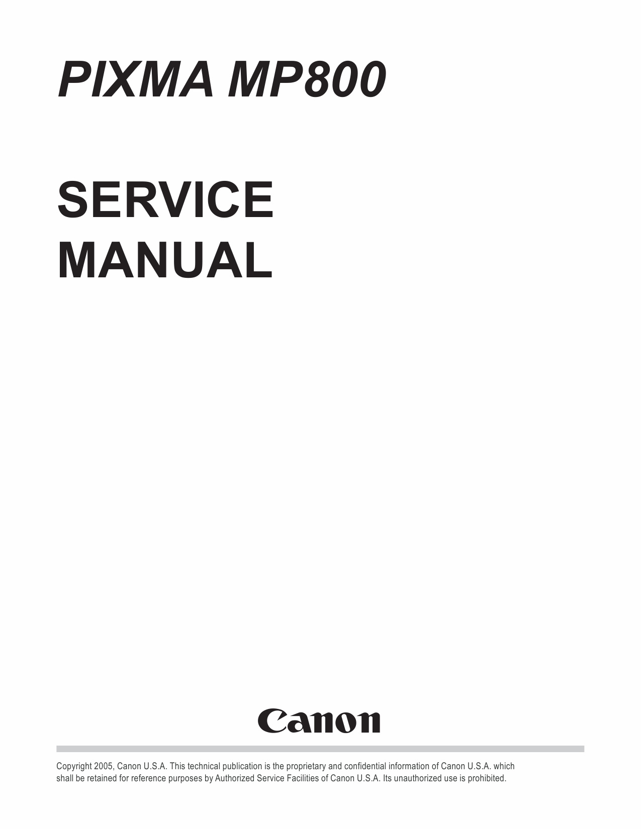 CANON PIXMA MP800 MP 800 SERVICE & REPAIR MANUAL +PARTS
